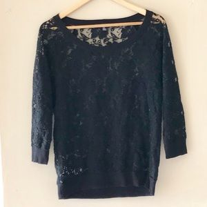 Forever 21 black lace top - Size Large